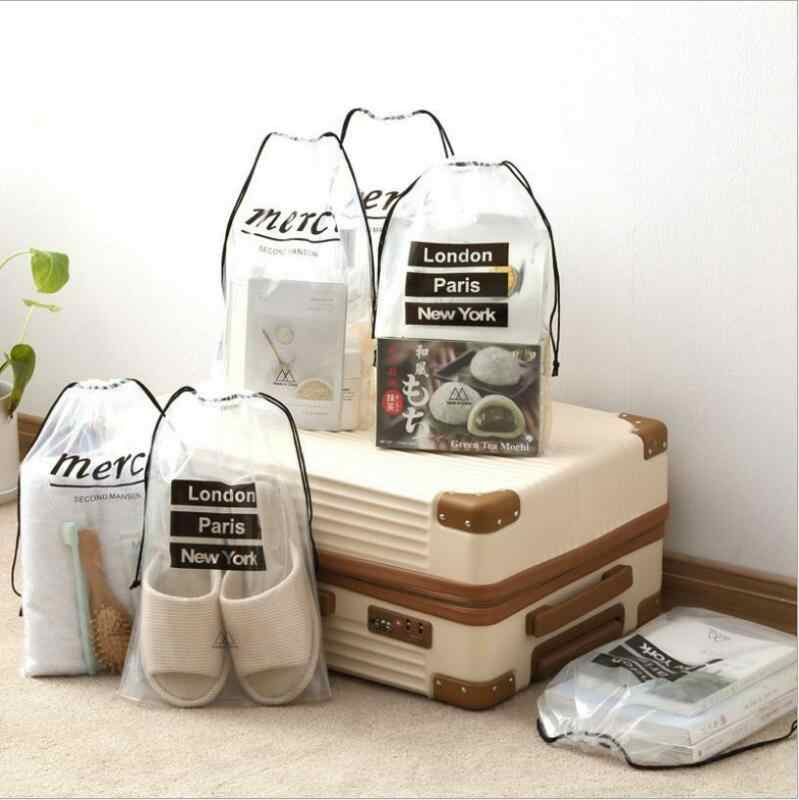 5 pièces/ensemble Portable sac de rangement femmes bagages voyage coffre sous-paquet PVC étanche à l'eau étanche à la poussière vêtements chaussures sac organisateur