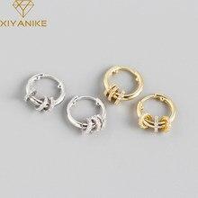 XIYANIKE 925 en argent Sterling deux méthodes d'usure petit cercle strass boucles d'oreilles femmes conception Unique mode lumière luxe bijoux