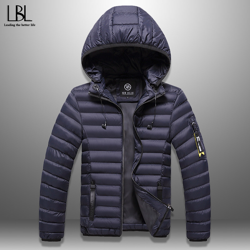 Men's Winter Jacket With Headphones Casual Thick Hooded Coat Warm Men Winter Coat Windproof Hat Detachable Padded Overcoat Homme