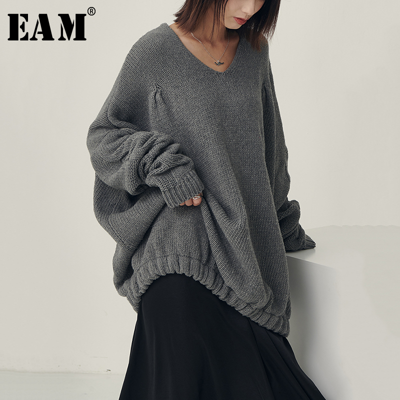 [EAM] Big Size Oversize Knitting Sweater Loose Fit V-Neck Long Batwing Sleeve Women New Fashion Tide Autumn Winter 2019 1B621