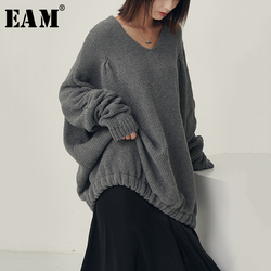 [EAM] Big Size Oversize Knitting Sweater Loose Fit V-Neck Long Batwing Sleeve Women New Fashion Tide Autumn Winter 2019 1B621 1