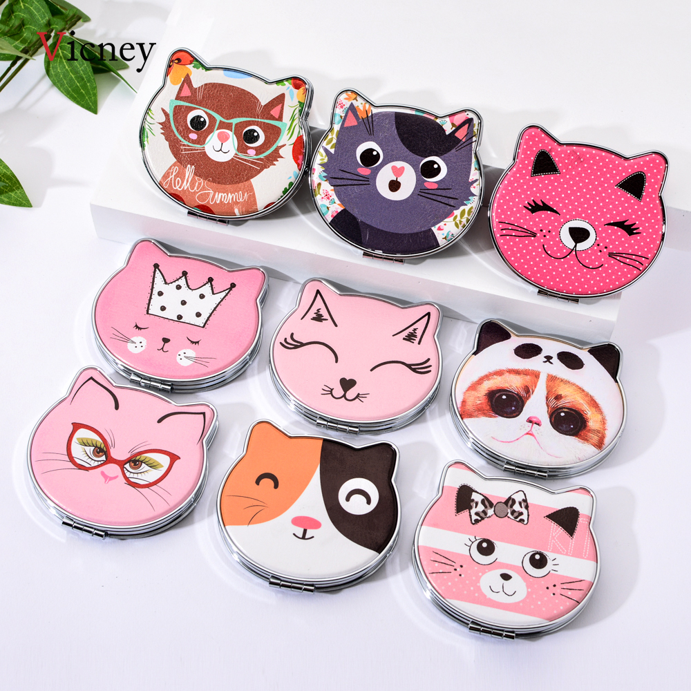 Cat Element Mini Pocket Mirror Cartoon Double Side Pocket Mirrors Girls Cute Makeup Organizer Cosmetic Make Up Accessories