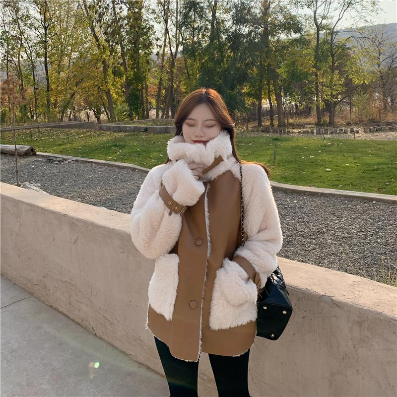 H7a686f24111c41a6ad3b30ab9439bf6dS Winter Women High Quality Fur Coat Loose Collar Design Integrated Long Splicing Single-breasted Cotton-padded Pocket Jackets