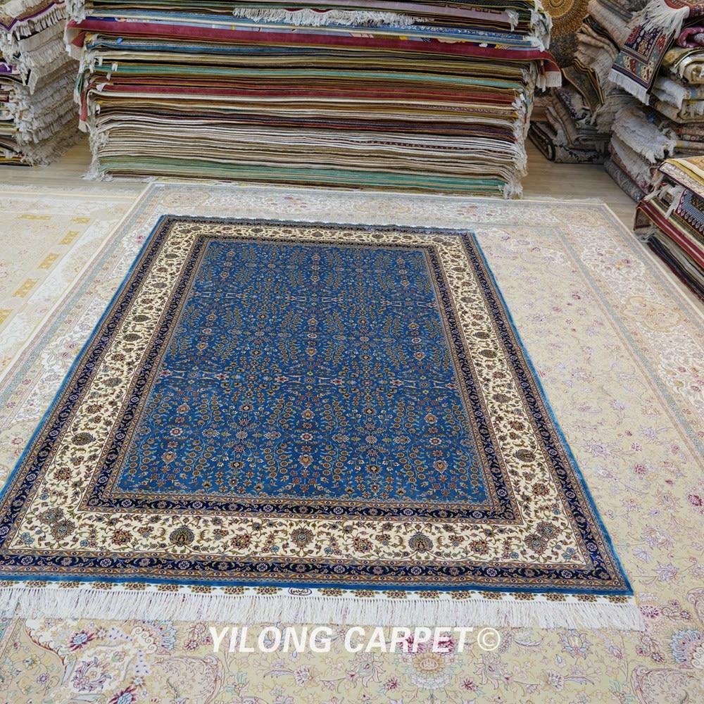 Yilong 6'x9 'Vantage əl düyünlü mavi qonaq otağı xalça ipək - Ev tekstil - Fotoqrafiya 2