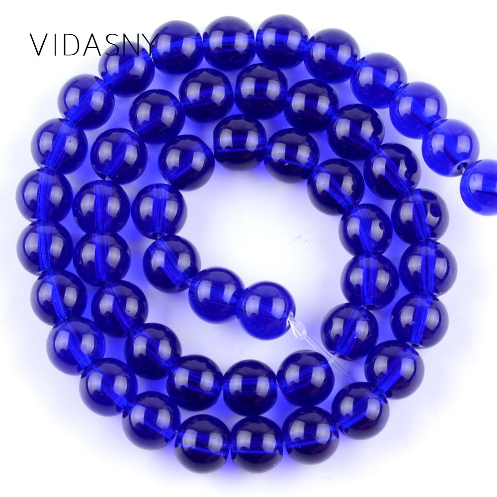 Navy Blue Glass Beads For Needlework Jewelry Making 4 6 8 10 12mm Round Stone Diy Necklace Bracelet Accessories 15