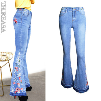 цена на Europe and The United States Women's Explosions Selling Wide Leg Pants Denim Bell Bottoms Embroidered Pants