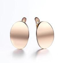 Proste kobiety 585 różowe kolczyki ze złotym sztyftem gładkie okrągłe kolczyki spadek dla dziewczyn moda kolczyk prezent GE307