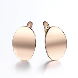 Simple Women 585 Rose Gold Stud Earrings Smooth Round Drop Earrings for Girls Fashion Earring Gift GE307
