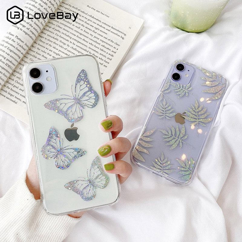Lovebay Butterfly Glitter Leaves Phone Case For iPhone 11 Pro SE 2020 X XR XS Max 8 7 Plus Transparent Star Soft IMD Back Cover