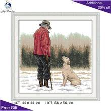 Joy Sunday Old Man And His Dog Home Decoration R500 Counted and Stamped The Old Man And His Dog Embroidery Cross Stitch kits(China)