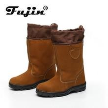Fujin Winter Plus Velvet Plus Cotton Labor Insurance Shoes Warm High-top Work Shoes Flip Work Shoes Safety Shoes Wear Resistant