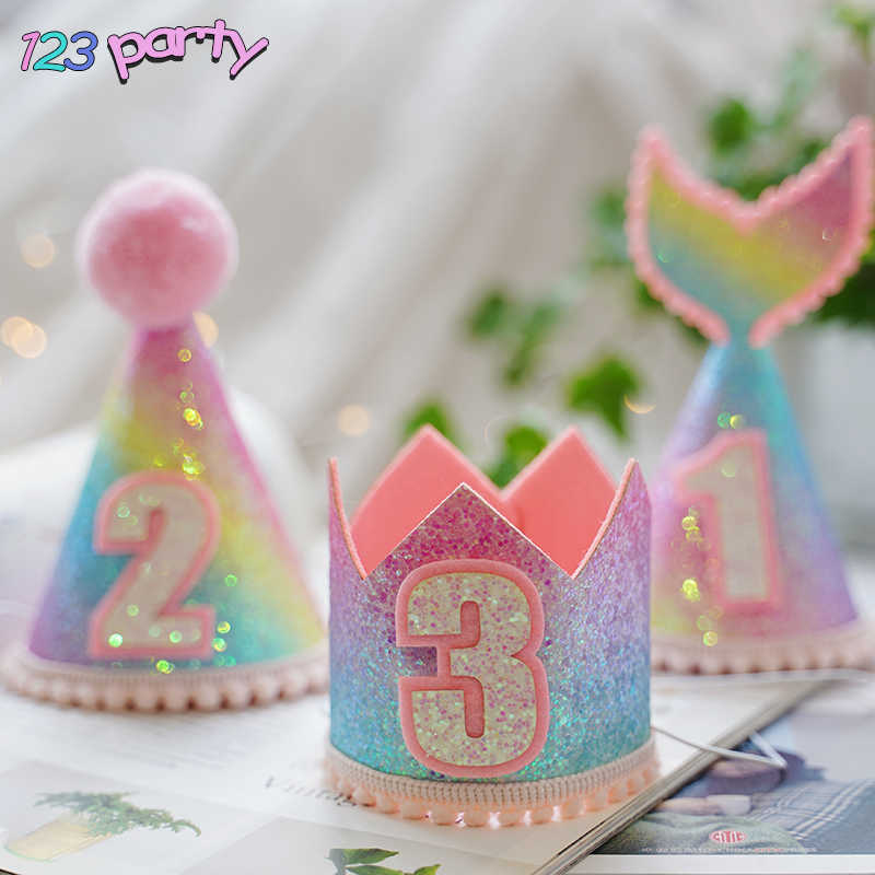 1pc Rainbow gradient mermaid birthday hat girl baby birthday party decoration hat baby shower party supplies Princess Crown hat