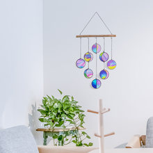 Moon Phase Wall Decor Wind Chimes Stained Acrylic Clear And Rainbow Iridized Moon Phase Wall Hanging Celestial Art Pendant