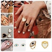 Quinby Heart Rings For Women Wedding Party Adjustable Finger Ring Girl Evil Eye Rings Street Style Big Enamela Anillo femme Q5 цены