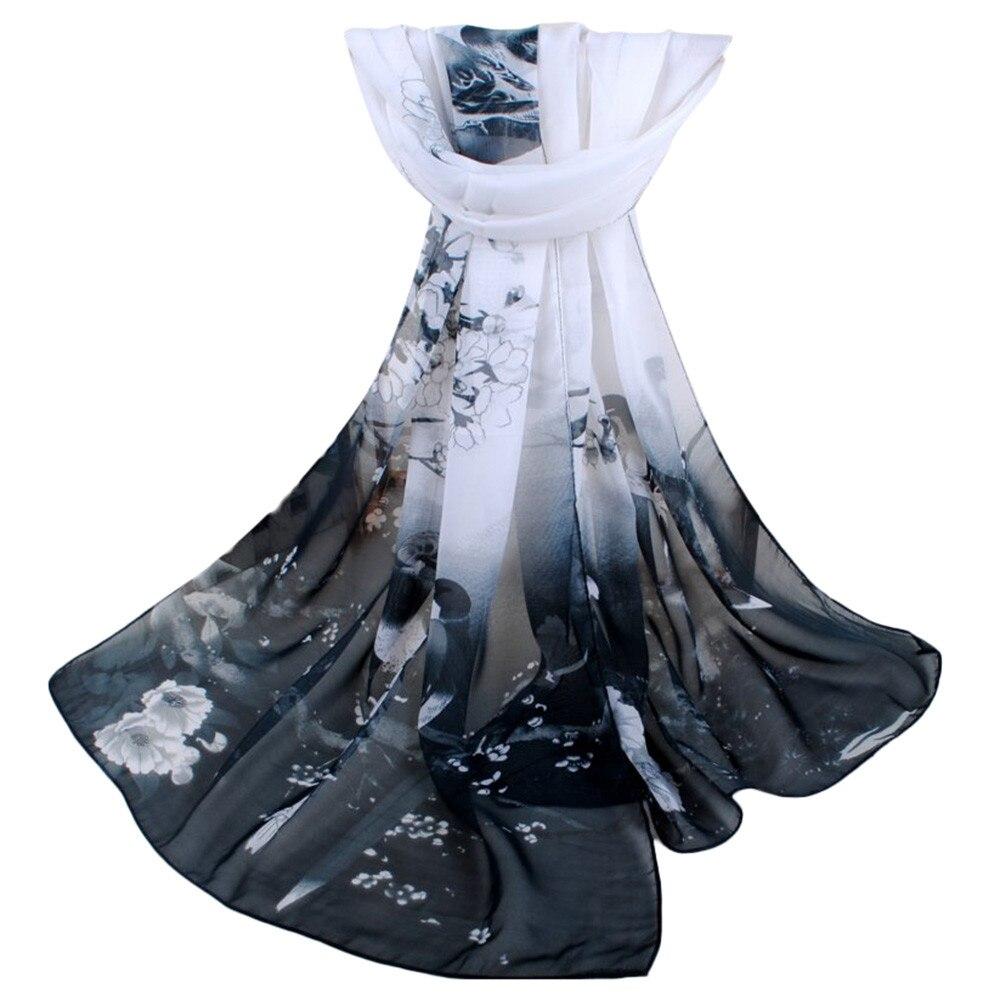 Fashion Women Girl Silk Scarf Mask Printed Soft Chiffon Shawl Wrap Wraps бандана Scarves