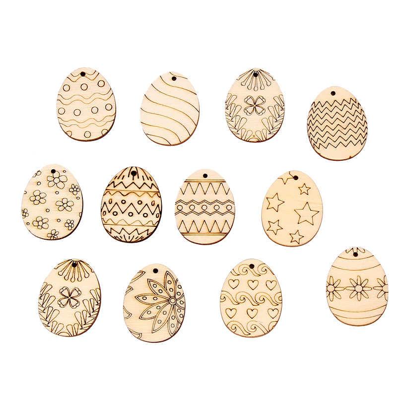 30-80 ミリメートル DIY 木材チップイースターエッグ装飾ハッピーイースター卵木製クラフトイースターの装飾ホーム