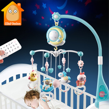 Baba csörgő kiságy mobilok játéktartó forgó mobil ágyú csengő zenés doboz kivetítés 0-12 hónapos újszülött csecsemő baba játékok