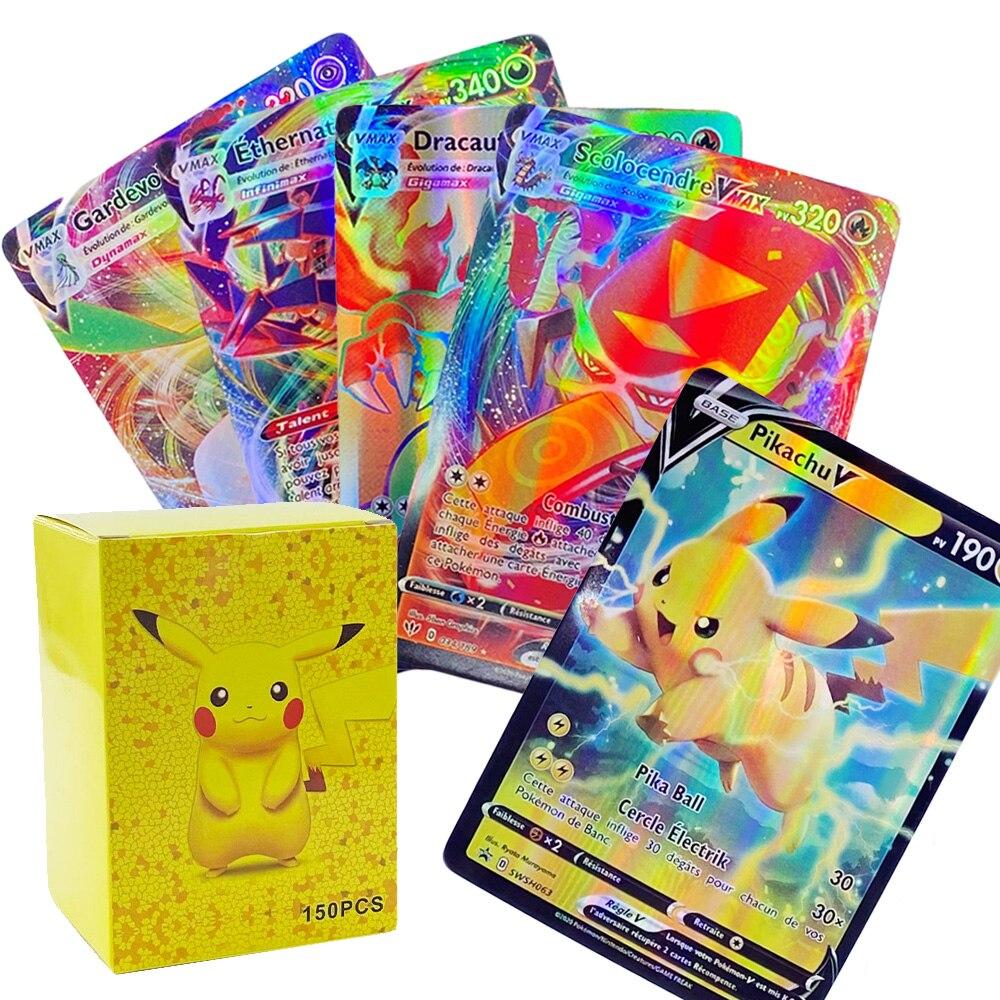 40-300 шт Pokemon French Card Lot Featuring 200 GX 100 TAG TEAM 146 V 54 VMAX 20 EX 20 MEGA