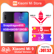 Xiaomi 9 6GB 128GB Mi-9 6GB/64GB LTE/GSM/WCDMA Nfc Quick Charge 4.0 Wireless Charging