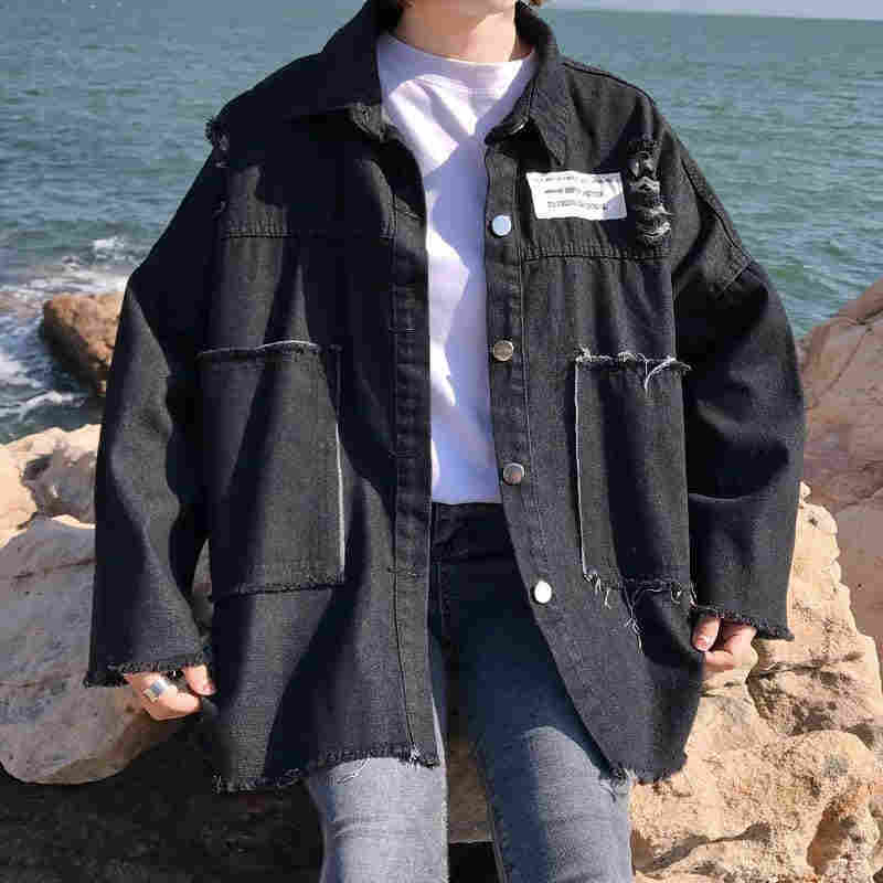 NiceMix 2020 Frühling Denim Mantel Frauen Lange Hülse Plus Größe Gedruckt Jean Jacke Loch Freund Stil Streetwear Jacken Mantel