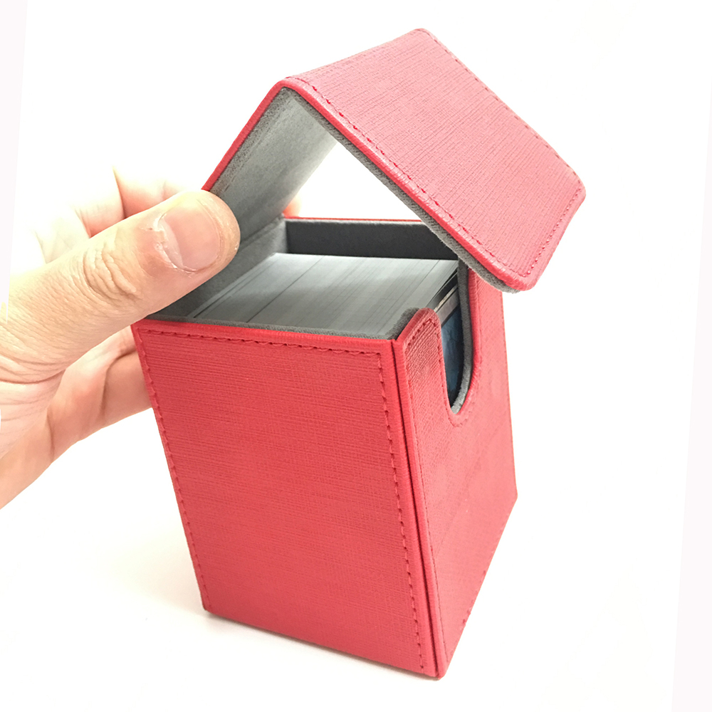 High Quality Small Top Open Magic/Pokemon/YuGiOh Card Deck Card Box: Red(China)