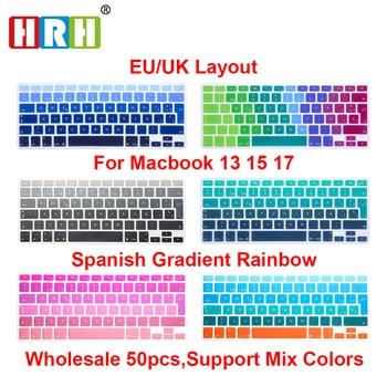 HRH Wholesale 50pcs EU/UK Spanish ESP Rainbow Silicone Keyboard Cover Keypad Skin Protector for Macbook Air Pro Retina 13 15 17