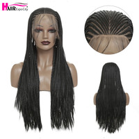 32inch Long Braided Box Braids Wig Synthetic Lace Front Wig For African Women Heat Resistant Fiber Black Color Hair Expo City