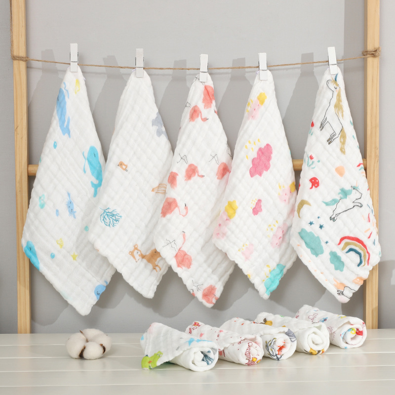 30*30cm Newborn Baby Square Gauze Towel Cotton Six-layer Bubble Yarn Children's Small Face Towel Infant Baby Kids Saliva Towel