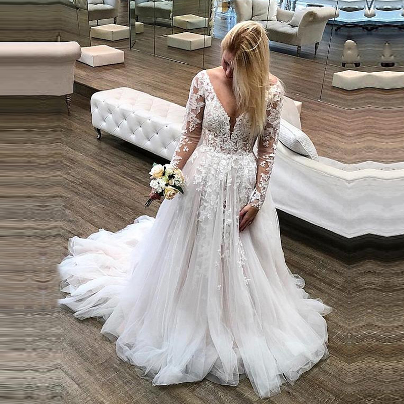 LORIE Long Sleeve Lace Wedding Dresses Boho 2019 Open Back Tulle Beach Bridal Gowns V-neck Princess White Wedding Gown Plus Size