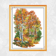In the Autumn of Birches Cross Stitch Kits Printed Canvas DMC Cotton Thread DIY Handwork Embroidery Sets for Needlework Crafts page k the body in the birches