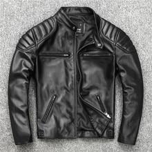 2021 NEW Sheepskin Leather Jacket Men's Motorcycle Biker Spring Natural Genuine leather Jackets Slim Short coat