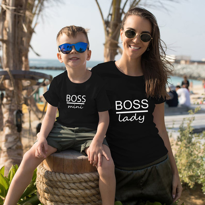 Mother Son Outfits Family Matching Clothes Mother Kids Baby Daughter Clothes BOSS Print Cotton Mommy And Me T Shirt Mom Son Top