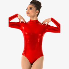 gymnastics leotard metallic dance shinny holographic performance ballet leoard high neck foil printing gymnastic clothes