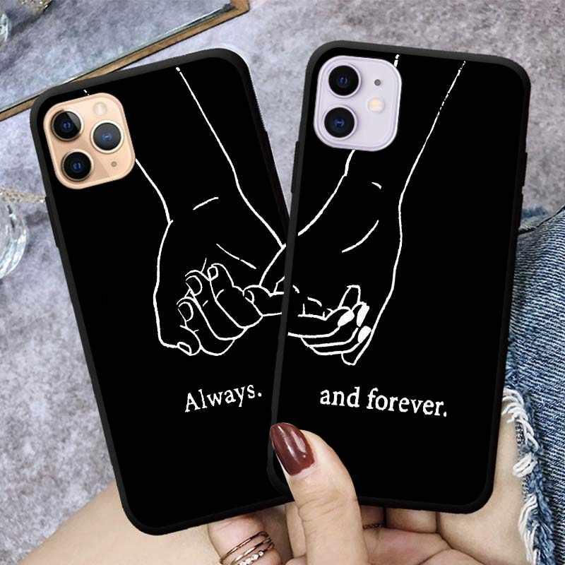 女の子 Bff ベストフレンズ常に黒電話ケースカバー iphone 11 プロマックス 7 6 6S 8 プラス Coque × XR XS 5S 、 SE かわいいカップル