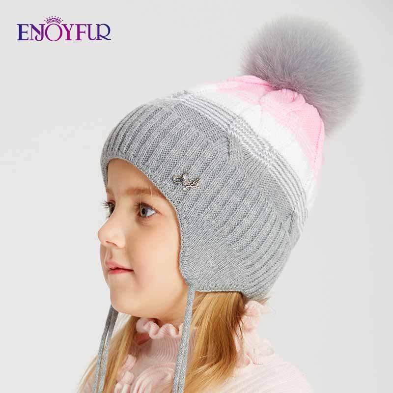 ENJOYFUR Winter Fox Fur Pompom Hats For Kids Girls Thick Warm Cotton Ears Cap Patchwork Color Children Beanies For Autumn