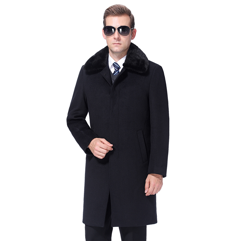 2019 hiver hommes laine manteau chaud laine manteau hommes pardessus cachemire caban laine mélange longue veste réel lapin fourrure col doublure de fourrure