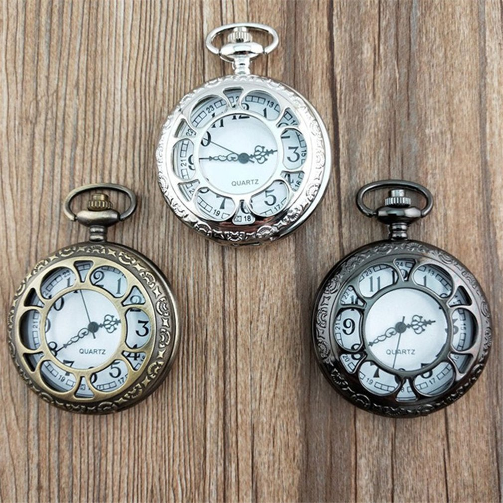 Vintage Hollow Out Flower Fashion Men Women Quartz Pocket Watch Unisex Necklace Pendant Watches With Chain Best Gifts