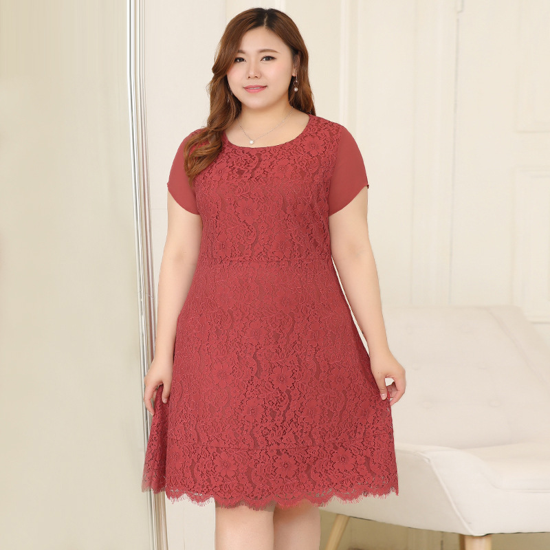 Extra Large Lace Dress Women's 2018 Summer Wear By Age Fat Mm Plus-sized Skirt Fashion 200 Cover Belly