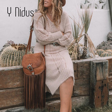 Sweater Dress Knitted Winter Christmas Warm Sexy Women Vestidos Loose Y-Nidus Long Hollow