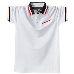 Image 3 - Мужская Повседневная рубашка поло, дышащая хлопковая рубашка поло с короткими рукавами и отложным воротником в стиле пэчворк, модель 5XL в полоску на лето