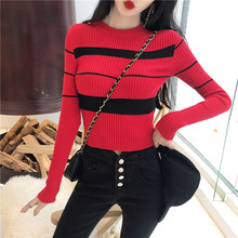 Autumn Women O-Neck Knitted Full Sleeve Striped Cropped Sweaters Pullovers Lady Knit Short Stretchy Crop Tops for Female