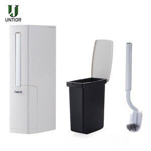 Image 5 - UNTIOR Multi function Trash Can Plastic Waste Bin with Toilet Brush Garbage Bucket Dustbin Kitchen Bathroom Cleaning Trash Bin