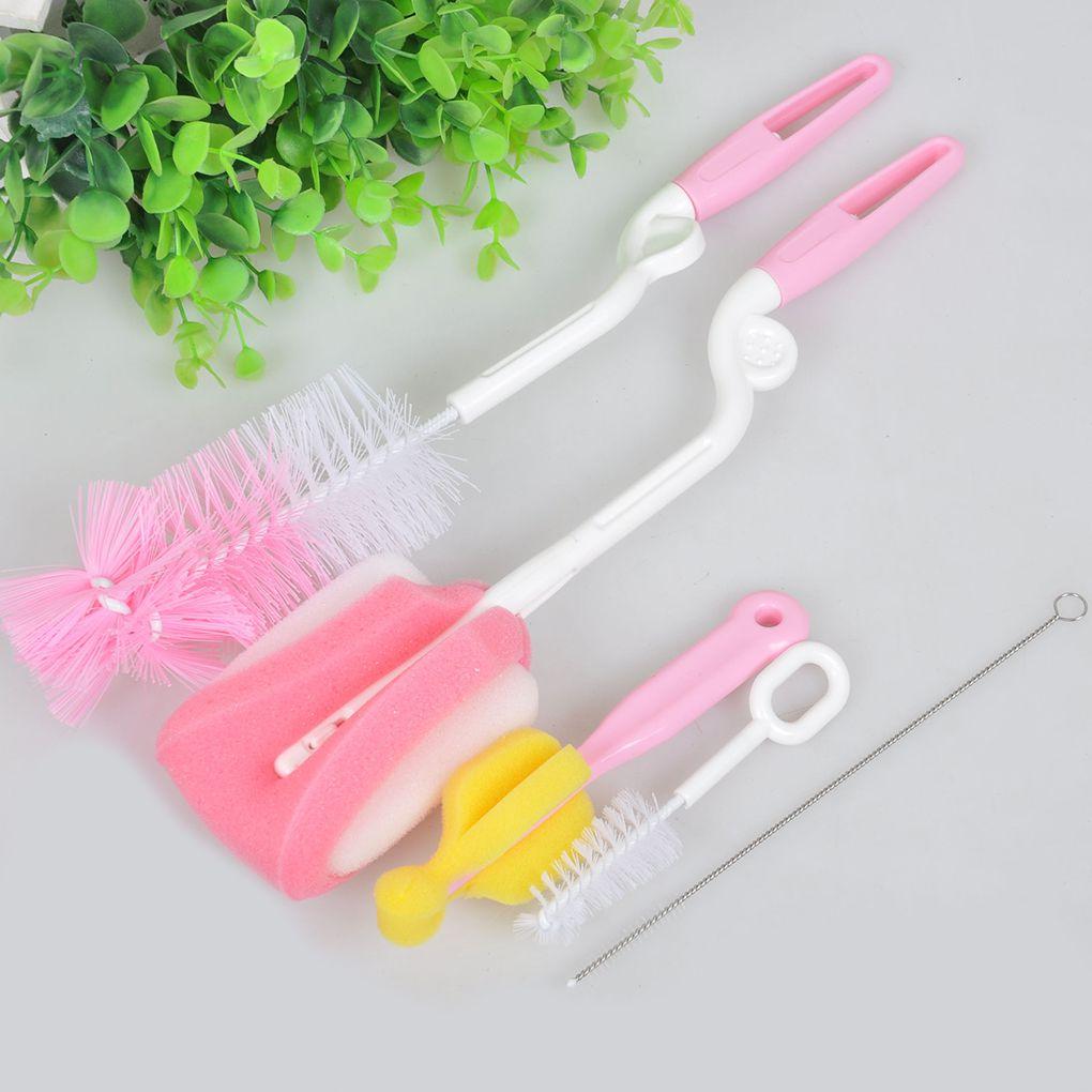 5pcs Baby Bottle Brush Cleaning Brush Set Rotary Sponge Nylon Brush For Children Handle Brush