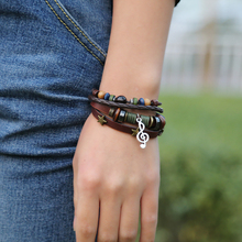 Creative note beaded bracelet & adjustable Jewellery for women punk & braided wristband for men & creative student Bangles