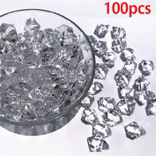 100pcs/Set Lifelike Plastic Gems Artificial Crystal Clear Stones Fish Tank Vase Ornaments Transparent Home Decor(China)