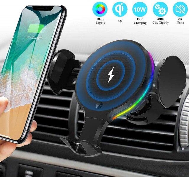 10W צ י אלחוטי מטען לרכב RGB אור אוטומטי הידוק מהיר טעינת טלפון מחזיק הר במכונית עבור iPhone XS 8 Huawei סמסונג