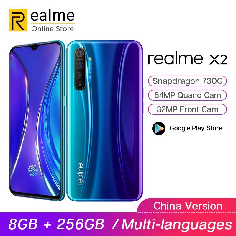 Realme X2 X 2 8GB 256GB Snapdragon 730G Smartphone Octa Core 64MP Quad Cams 6.4 ''NFC handy 4000mAh 30W VOOC Schnelle Ladegerät