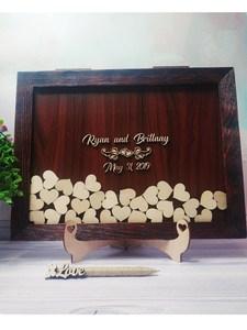 Personalize a alternativa elegante e do livro de visitas do casamento de gracef, caixa de desejos superior feita sob encomenda da gota do casamento do batismo