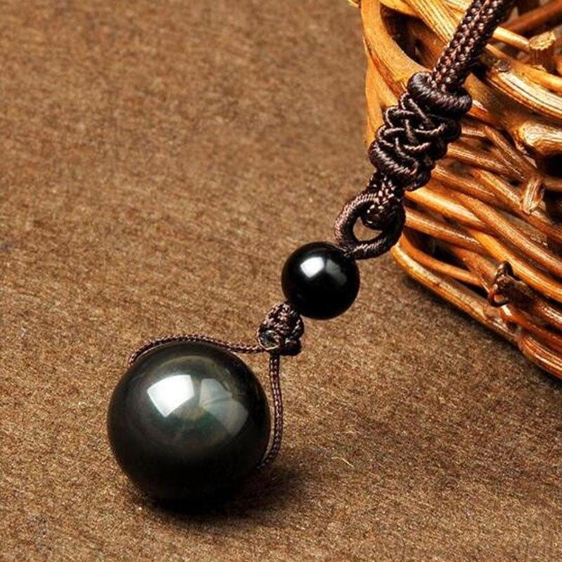 100% Natural Obsidian Transshipment Beads Pendant Jewelry Men And Women's Fine Jewelry Obsidian Transshipment Pendant