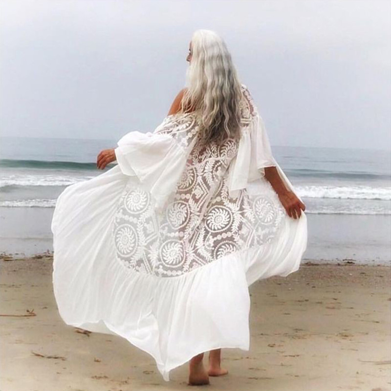 2020 New Bikini Cover-ups Sexy Belted Summer Dress White Lace Cotton Tunic Women Plus Size Beach Wear Swim Suit Cover Up